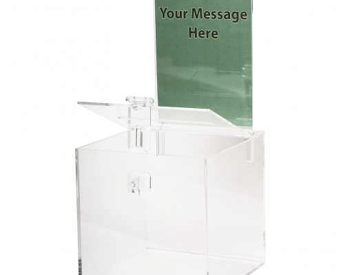 Acrylic Donation Box with Lock & Sign Holder-1