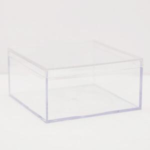 "Small Acrylic Cube Box Whit Lid - 4"" x 4"" x 2"""