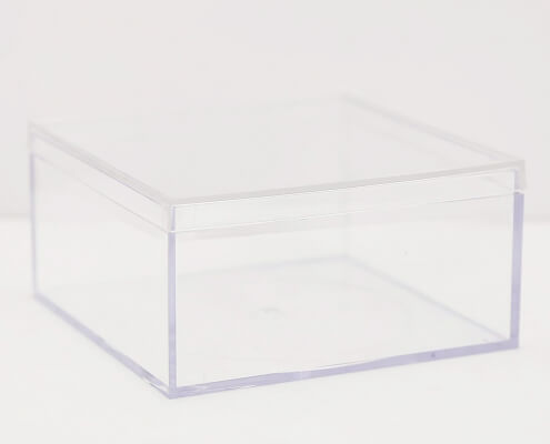 "Small Acrylic Cube Box Whit Lid - 4"" x 4"" x 2"""