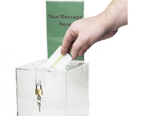 Acrylic Donation Box with Lock & Sign Holder-2