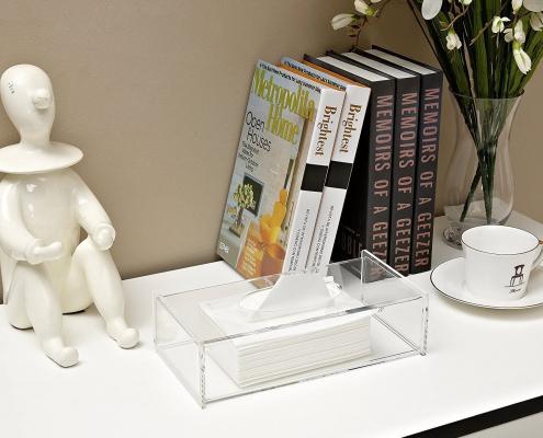 Acrylic Facial Tissue Dispenser Box - 10 × 2.4 × 4.9 inch-3