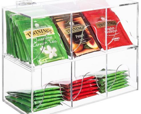 6-Slots Clear Acrylic Stackable Tea Bag Organizer Rack-1