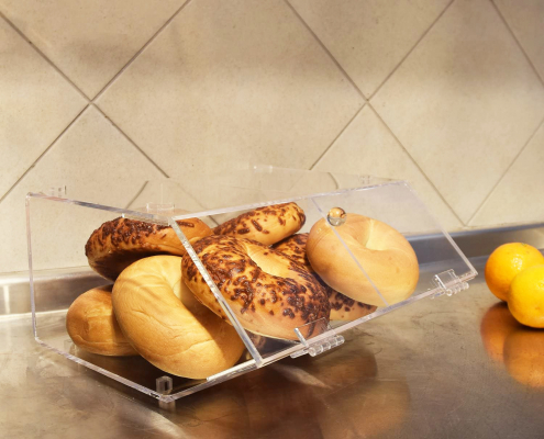 2 Compartments Acrylic Bread Display Case With Hinge-3