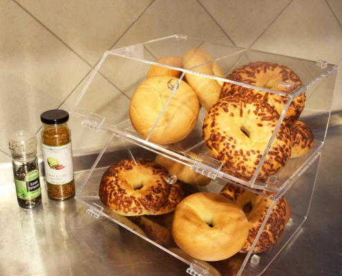 2 Compartments Acrylic Bread Display Case With Hinge-2