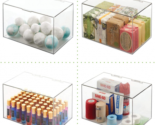 """Acrylic Storage Container Box with Lid - 11"""" × 7"""" × 6.5""""-4"""