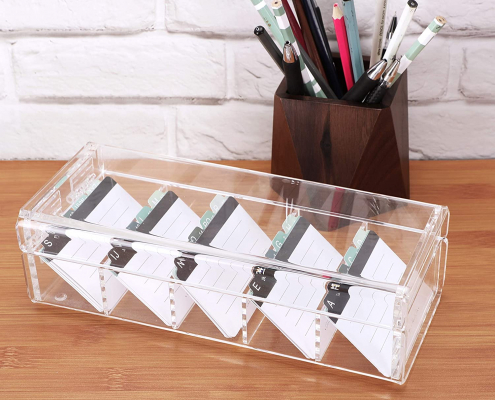 Acrylic Cards Organizer Box - 5 Dividers-2