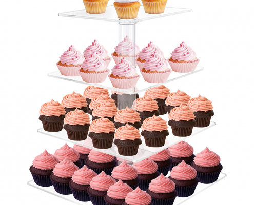 Square Acrylic Clear 4 Tier Cupcake Display Stand-1