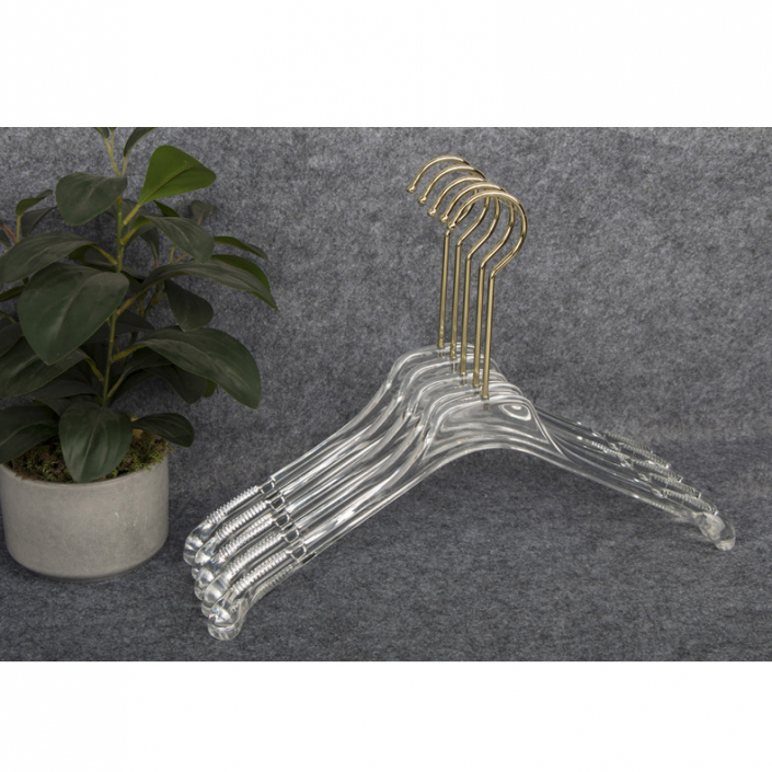 Clear hangers wholesale clothes hangers with slip-proof arms
