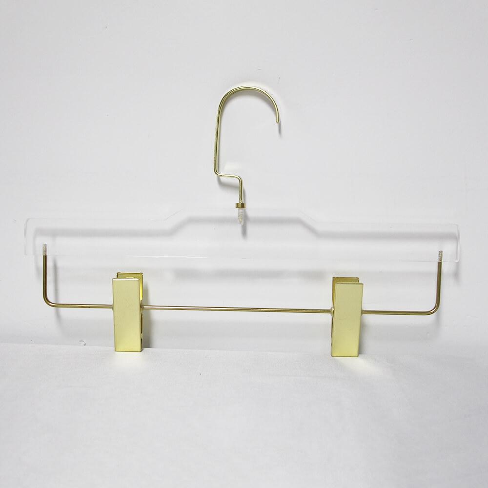 acrylic hanger lucite hanger for dress pants gold brass