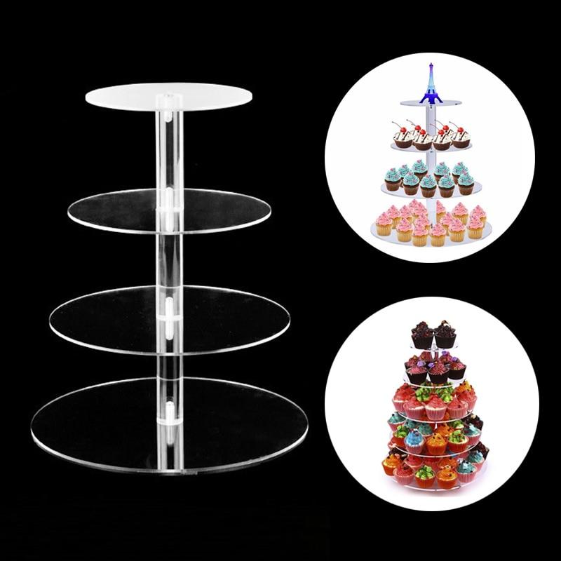 3/4/5 Tier Acrylic Doughnut Stand Wedding Cake Holder Crystal Cup Cake Display Tower