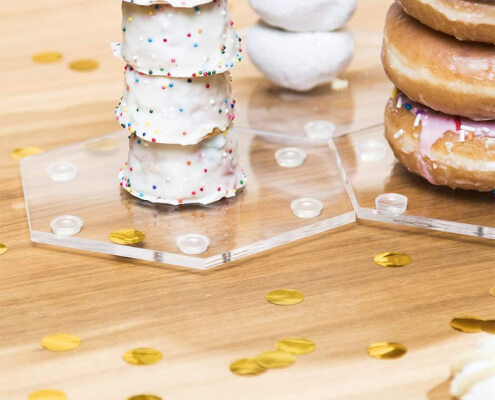 "Hexagonal Clear Acrylic Doughnut Stand DIY Donut Holder 5""W x 14.96""H"