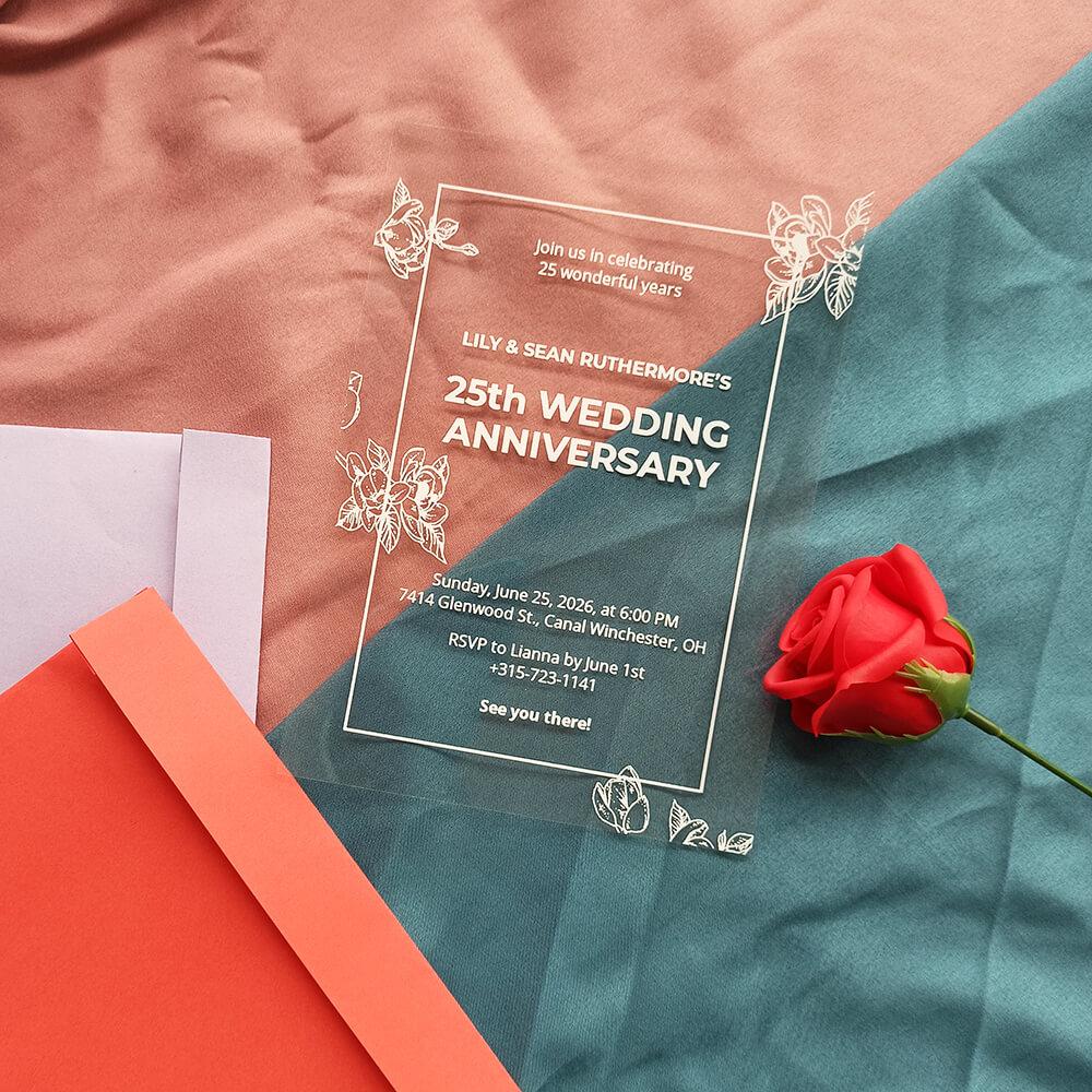 25th Acrylic Wedding Anniversary Invitation