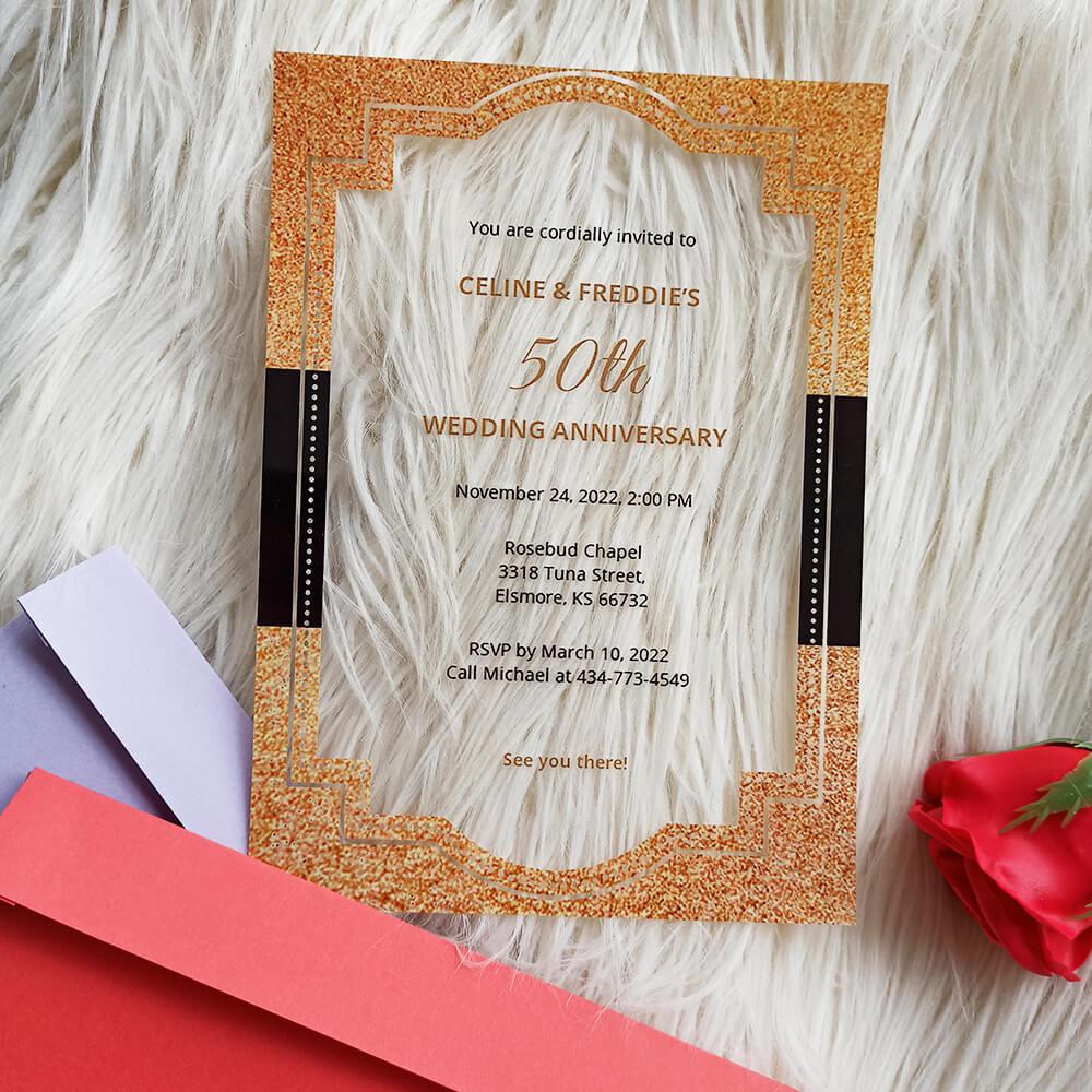 50th Fall Acrylic Wedding Anniversary Invitation2