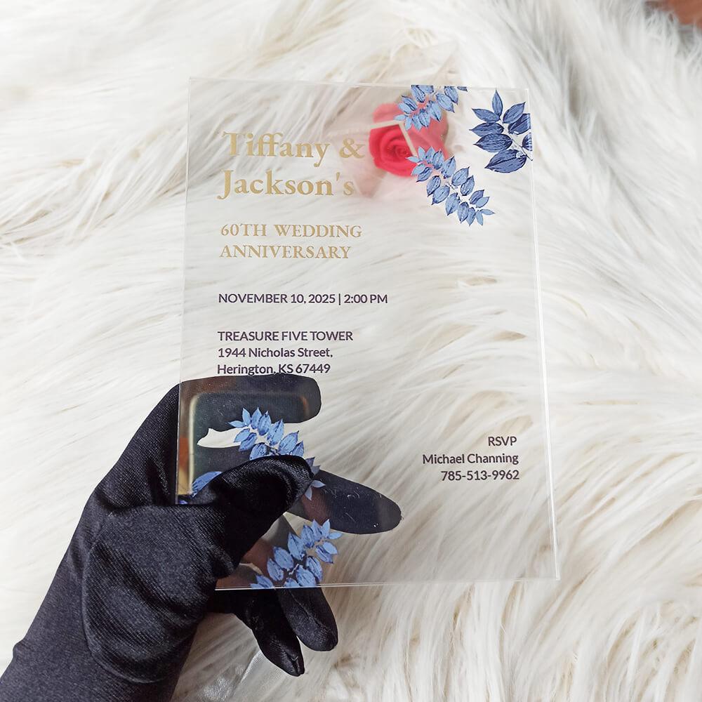 60th Fall Acrylic Wedding Anniversary Invitation4