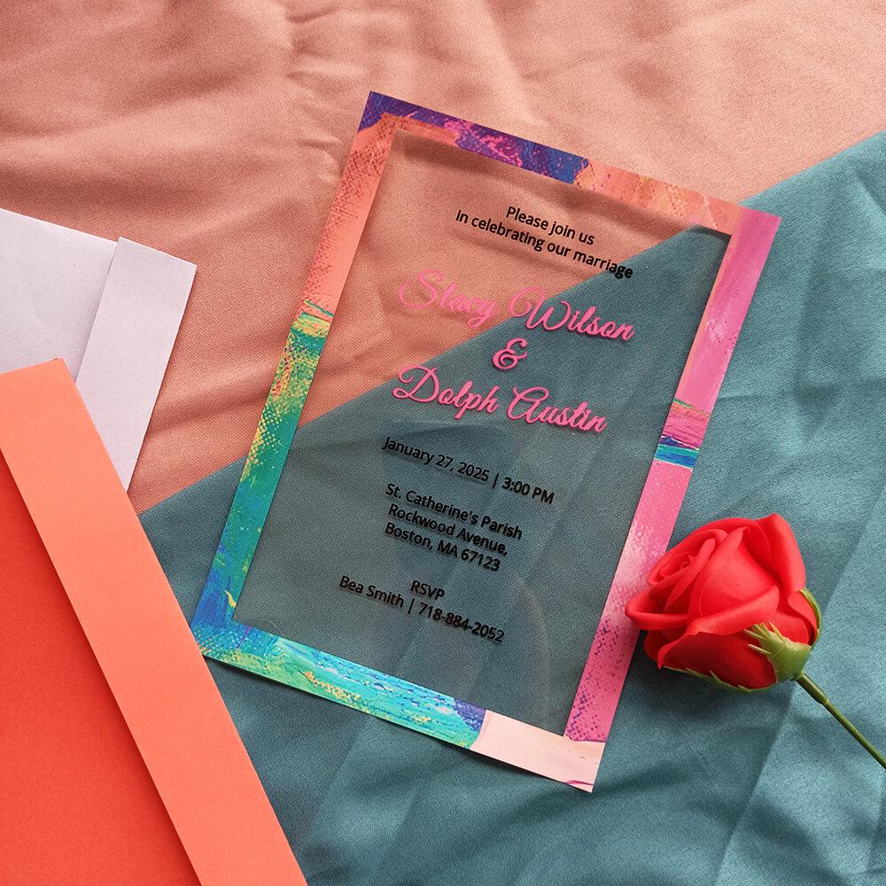 Acrylic Wedding Invitation Card Art Deco