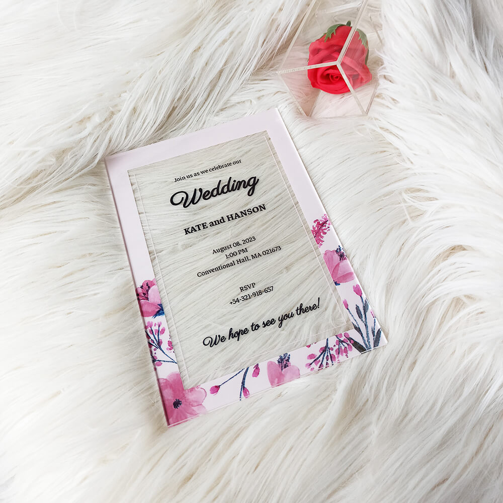 Blank Acrylic Wedding Invitation