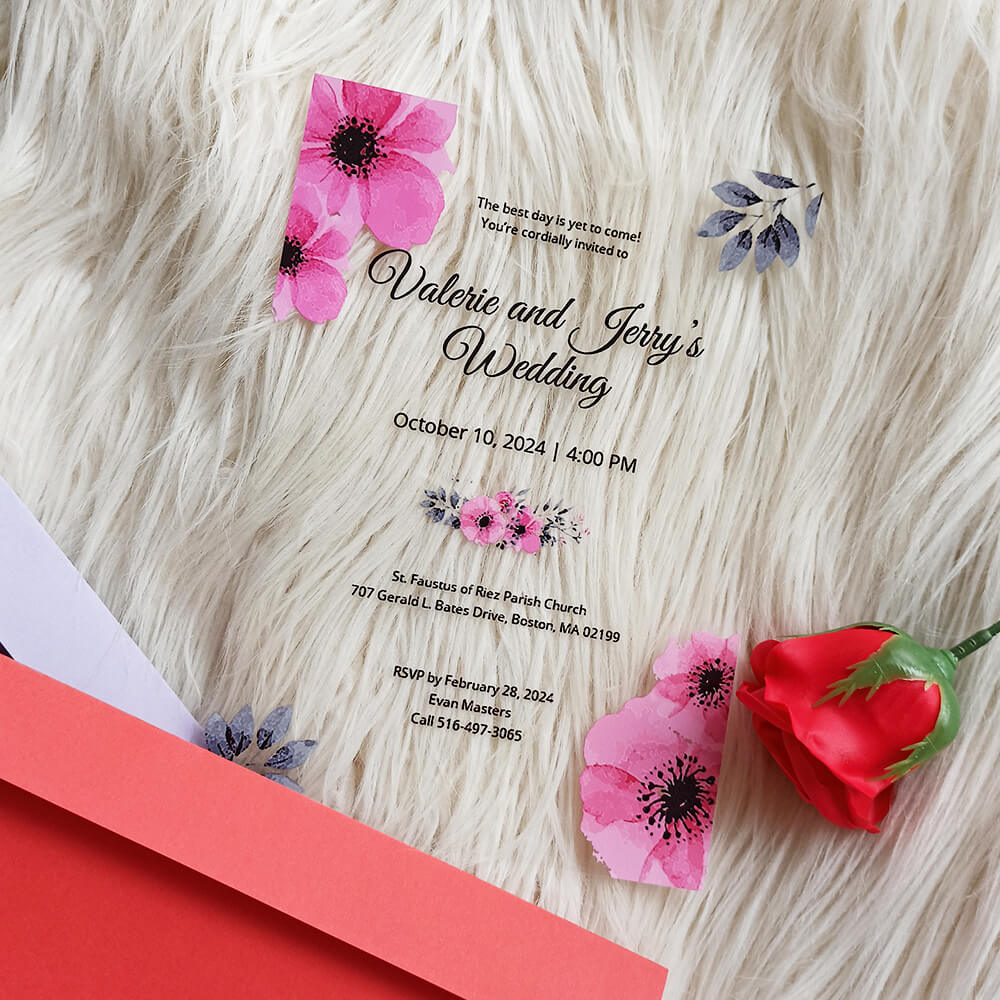 Bloomy Acrylic Wedding Invitation