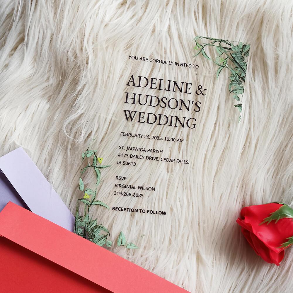 Acrylic Wedding Invitation Botanika Fall