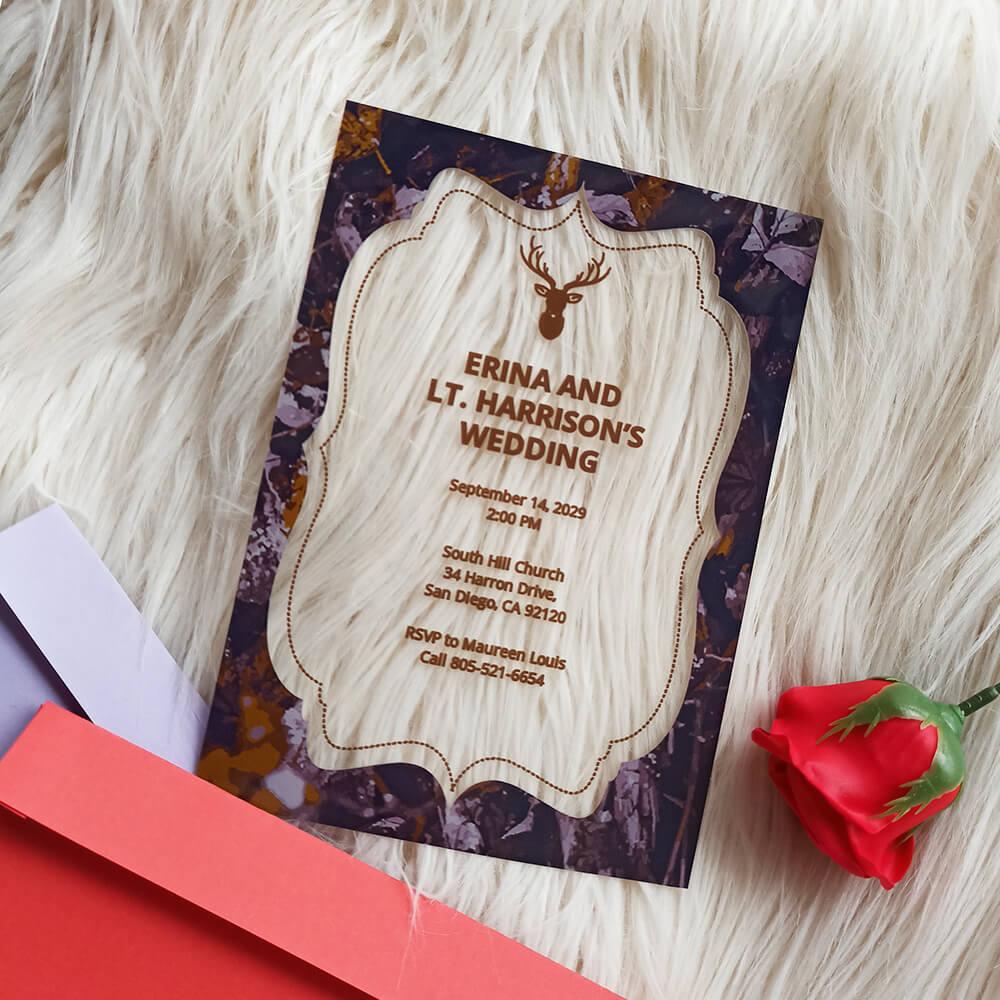 Camo Acrylic Wedding Invitation