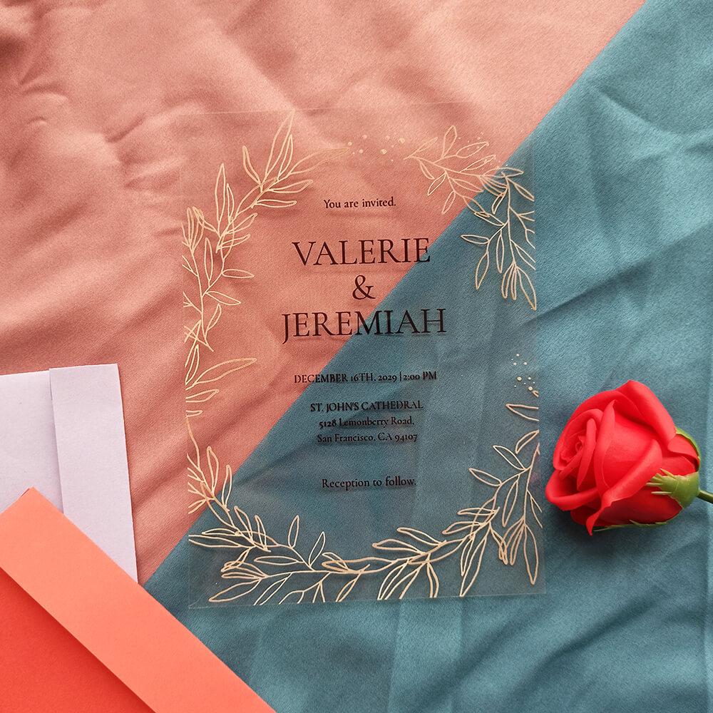 Acrylic Wedding Invitation Card Copper Foil Fall