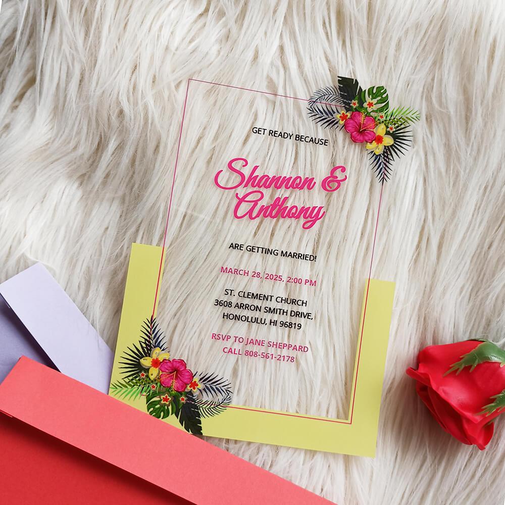 Acrylic Destination Wedding Invitation