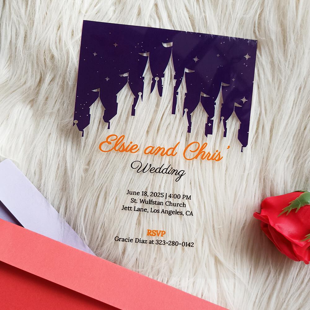 Disney Castle Acrylic Wedding Invitation