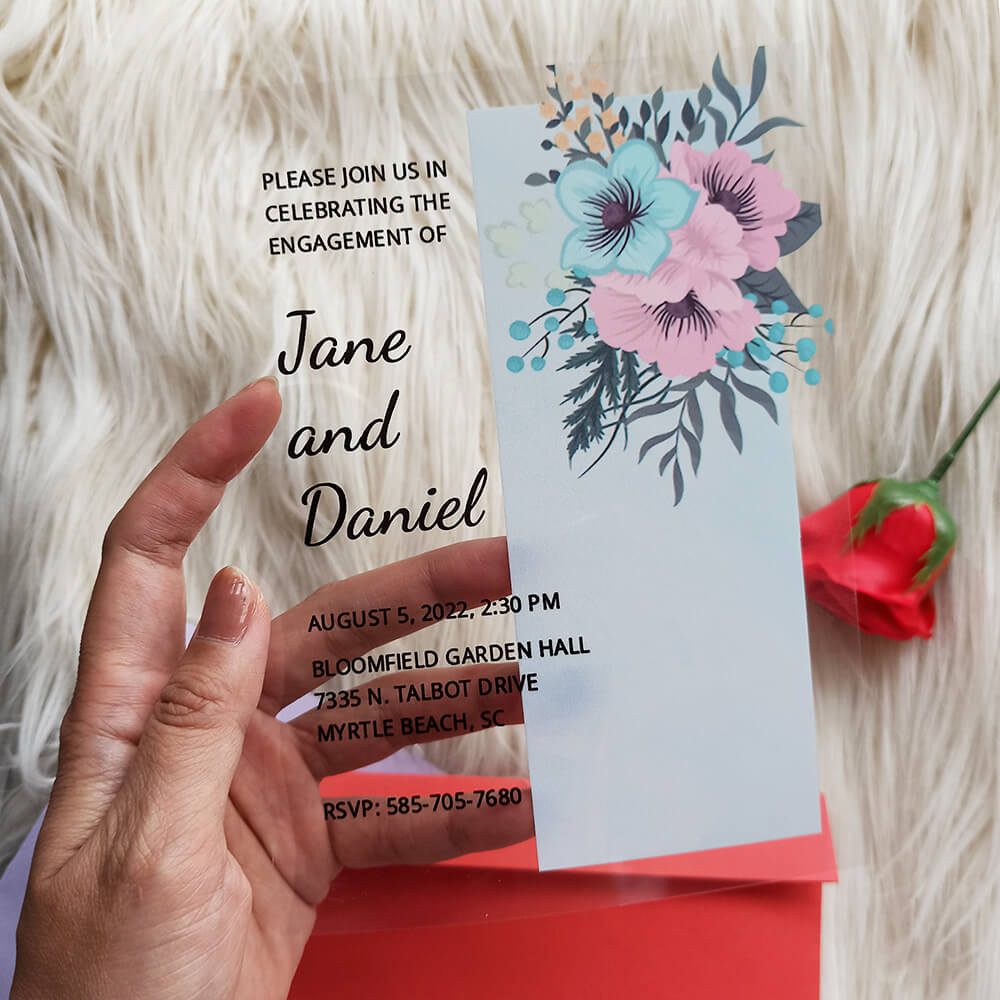 Acrylic Engagement Ceremony Invitation Card