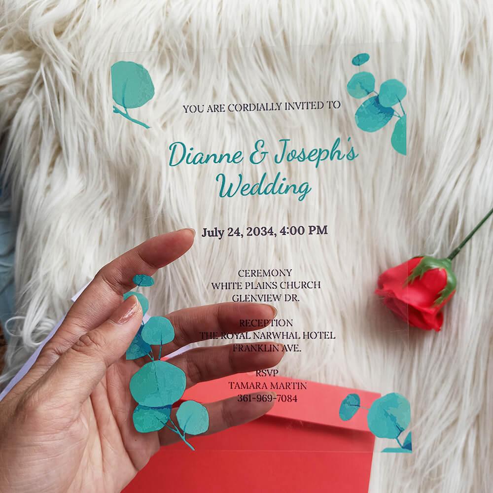 Acrylic Wedding Invitation Eucalyptus