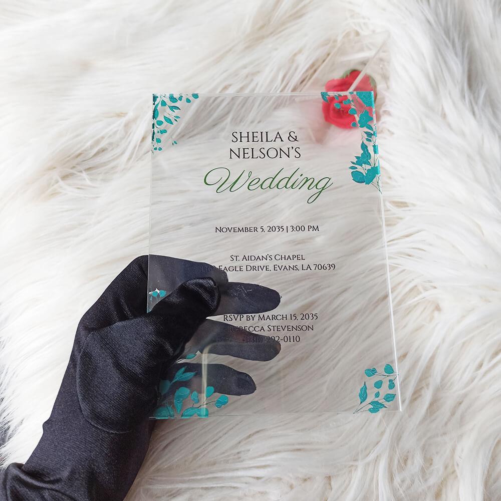 Acrylic Wedding Invitation Card Fall Flower
