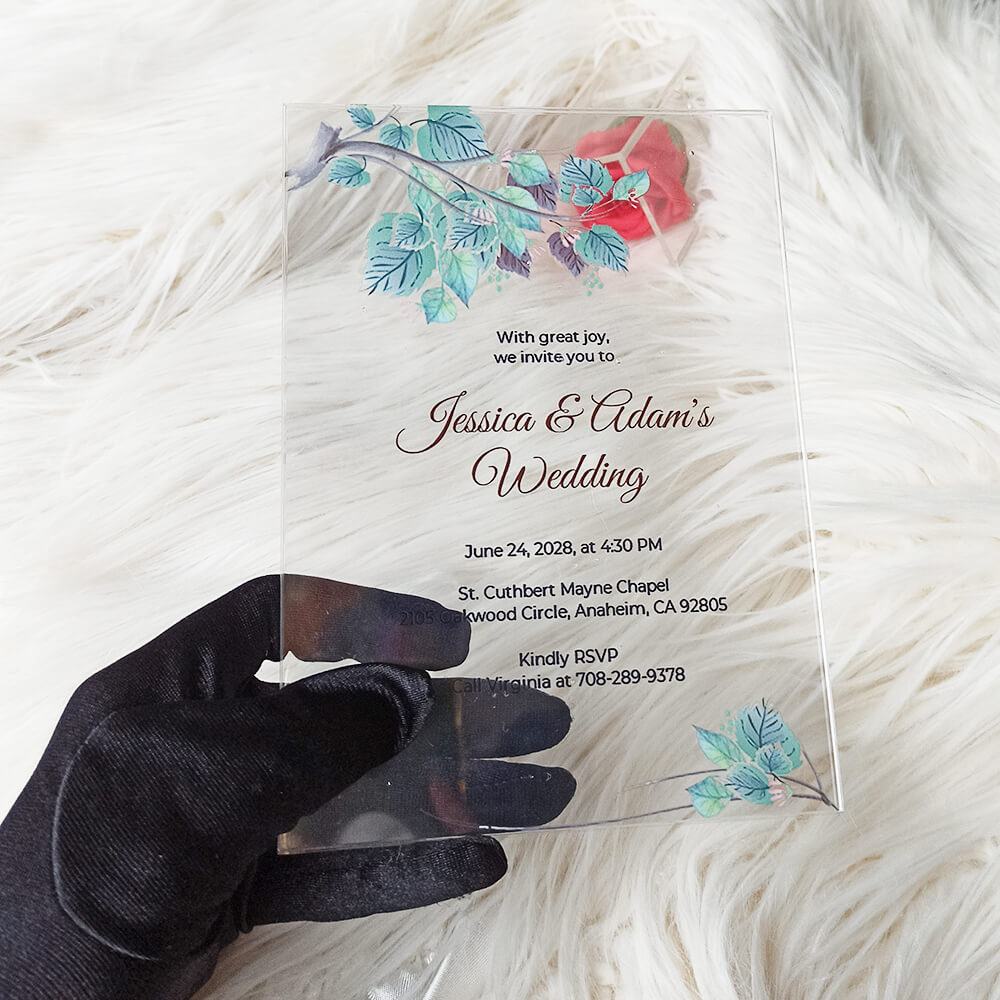 Acrylic Wedding Invitation Card Fall