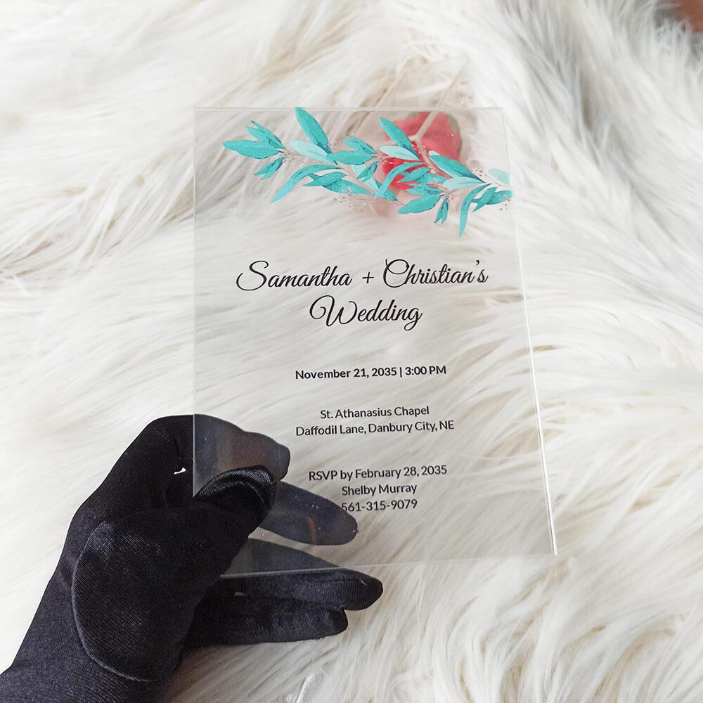 Acrylic Wedding Invitation Fall Leaves
