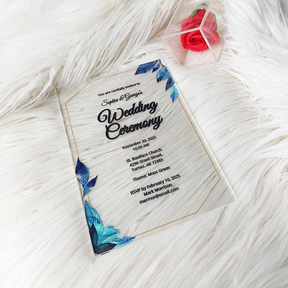 Formal Acrylic Wedding Invitation Card