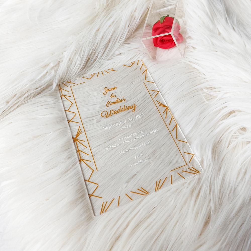 Geometric Acrylic Wedding Invitation