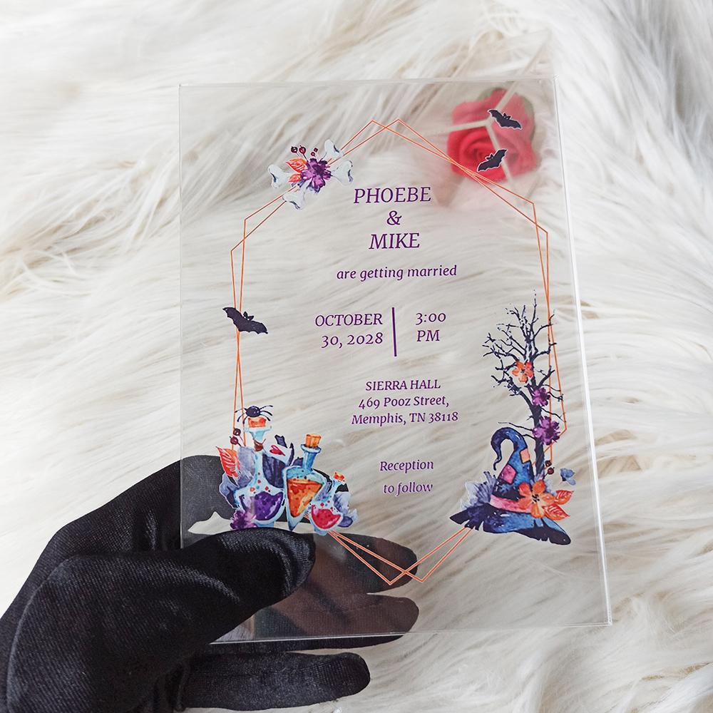 Halloween Acrylic Wedding Invitation