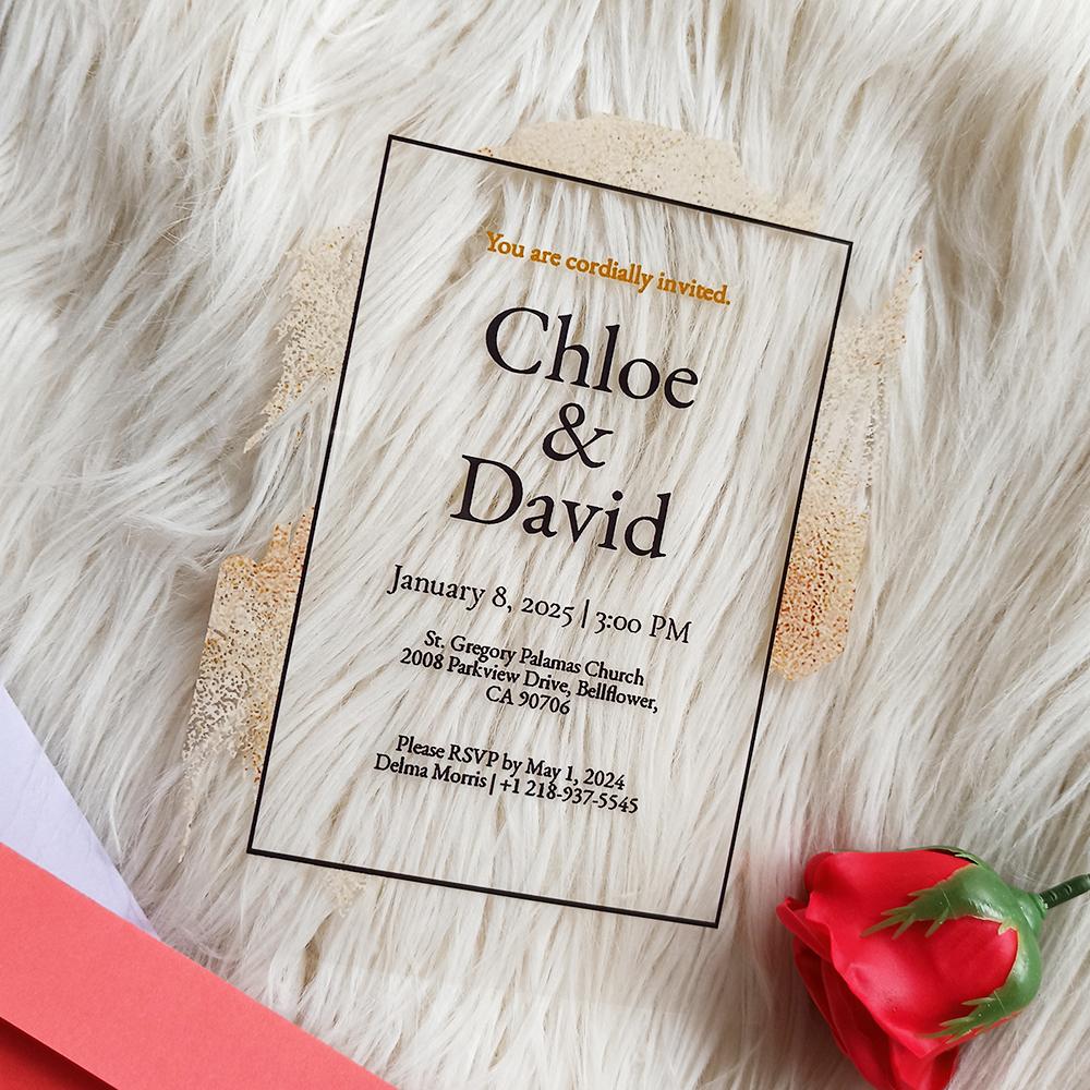 Acrylic Wedding Invitation Modern Church