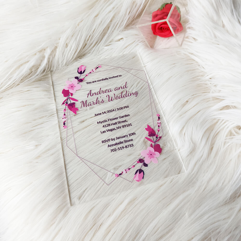 Sample Acrylic Wedding Invitation