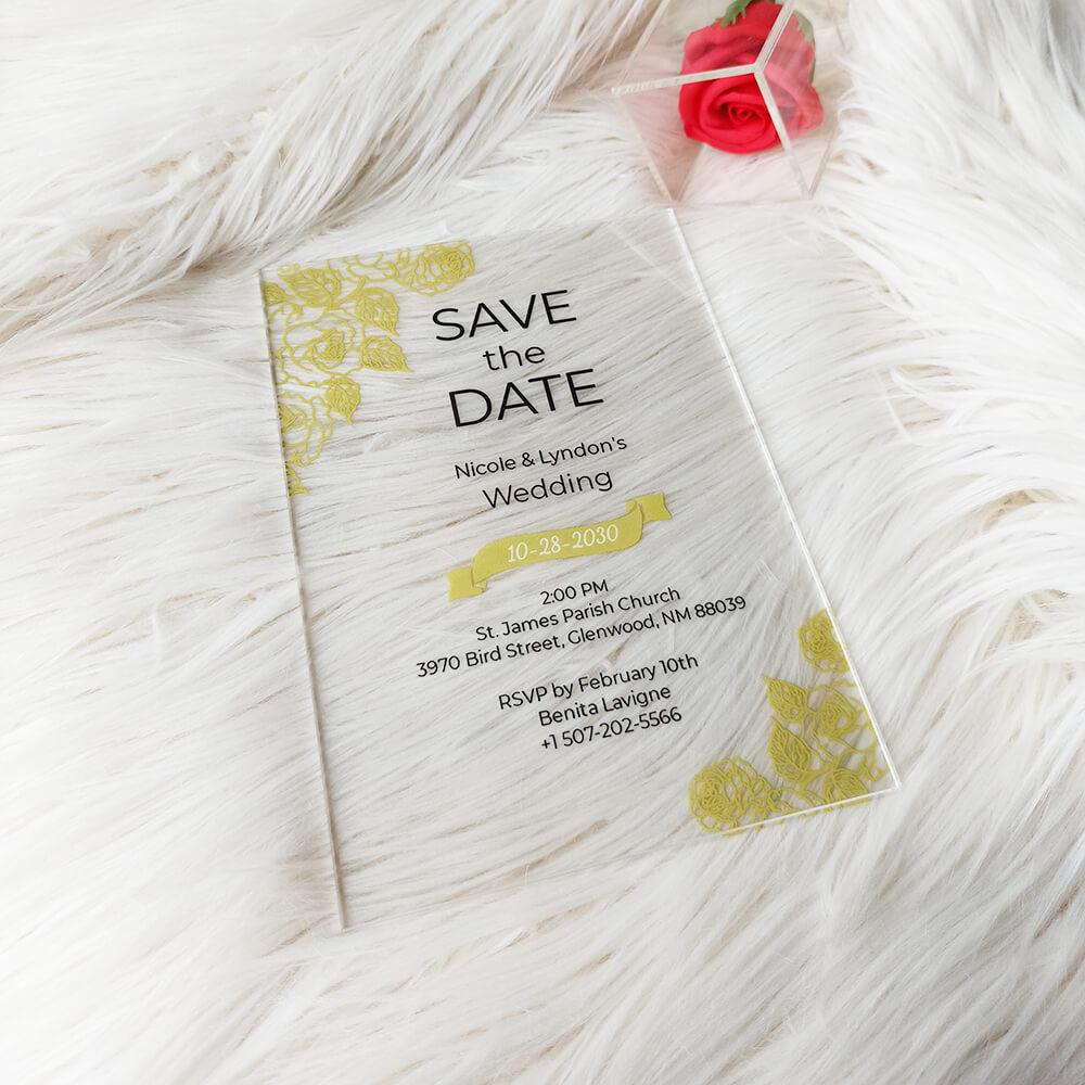 Save the Date Acrylic Wedding Invitation
