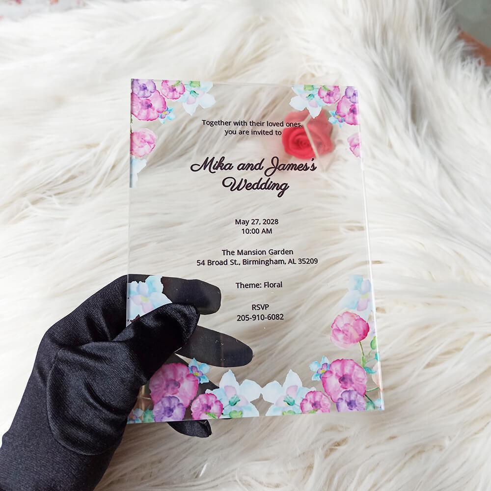 Watercolor Floral Acrylic Wedding Invitation