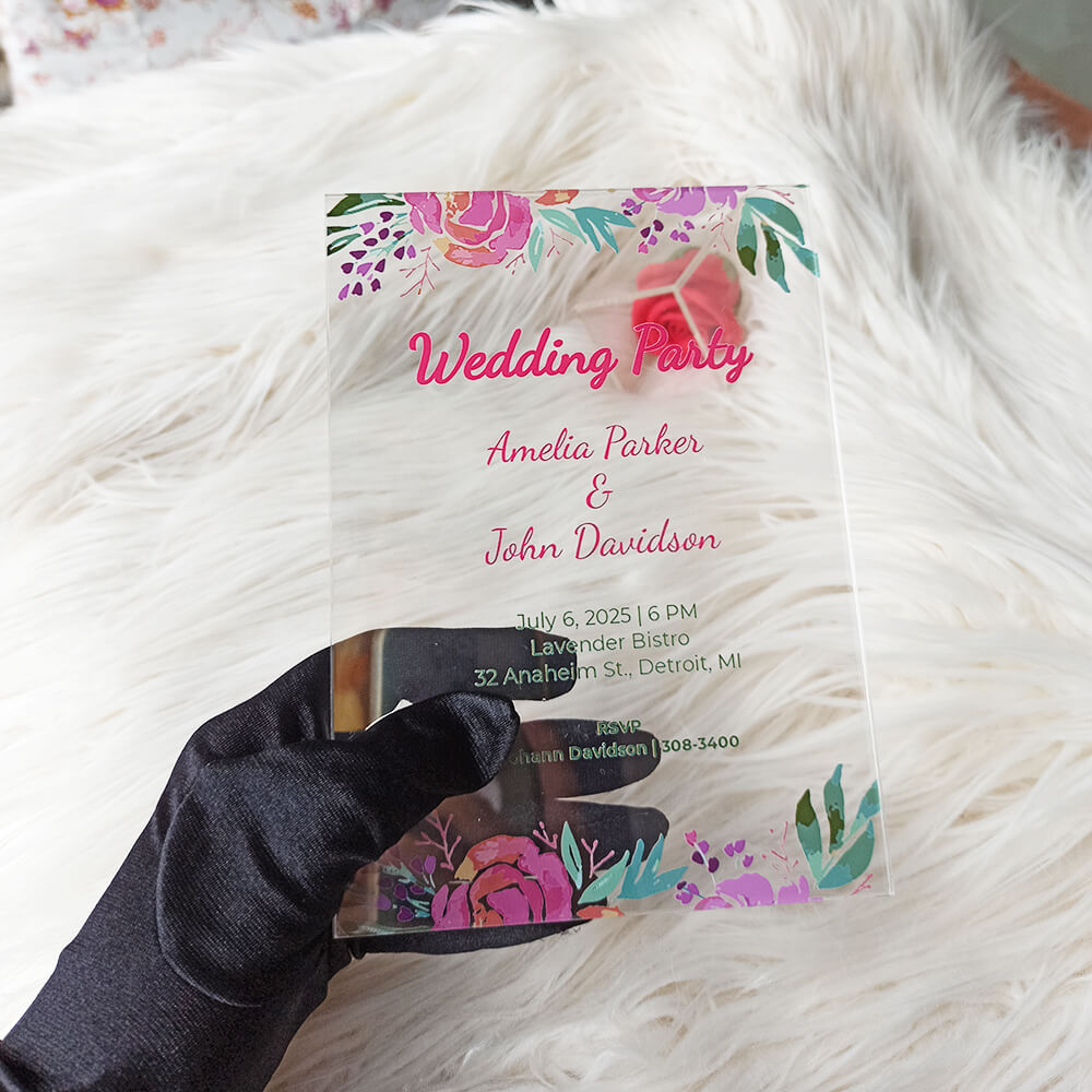 Acrylic Wedding Party Invitation
