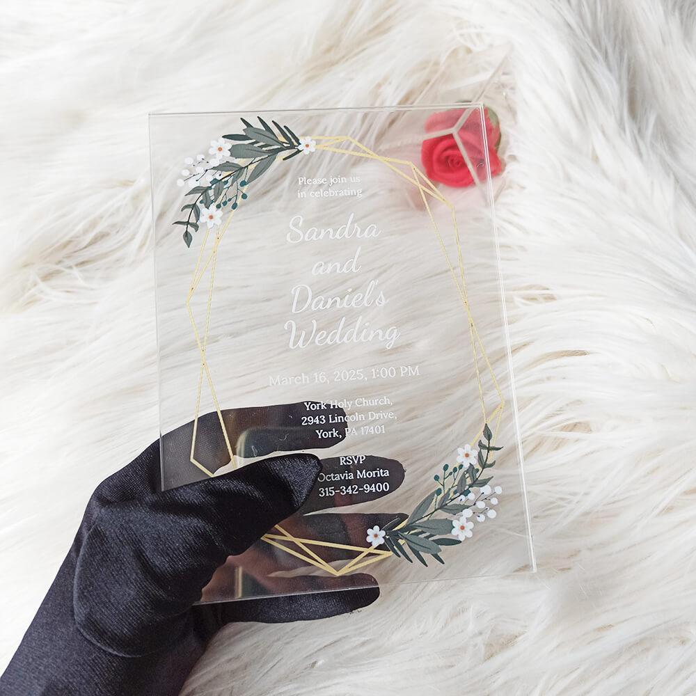 Acrylic Wedding Thank You Invitation