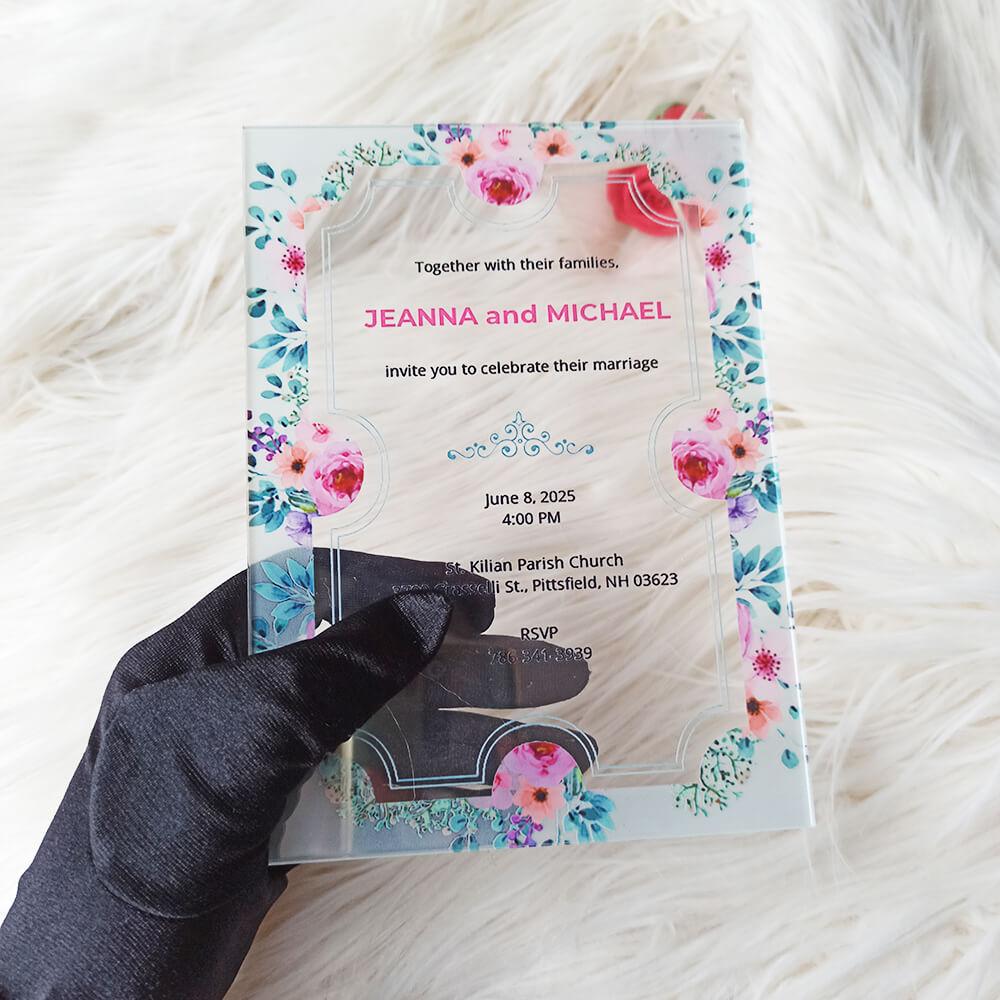 Acrylic Wedding Ticket Invitation