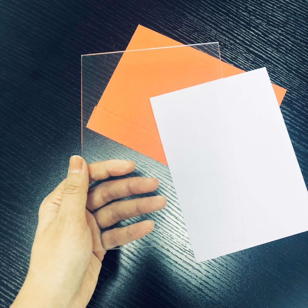 blank acrylic wedding invitation card