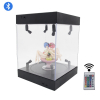 Acrylic Display Case 25cm 30cm 35cm 40cm Self Install Clear Cube Box With Turntable LED Lights 1