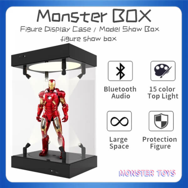 Acrylic Display Case 25cm 30cm 35cm 40cm Self Install Clear Cube Box With Turntable LED Lights
